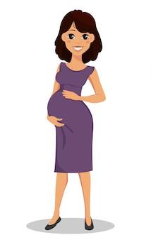 Bella signora incinta sorridente