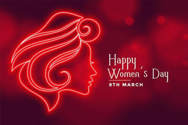 Bella signora rossa faccia per la cartolina d'auguri del giorno delle donne felici
