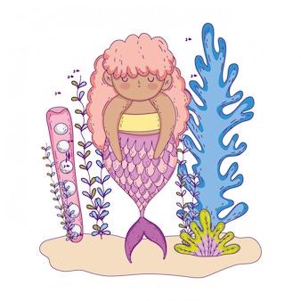 Bella sirena con carattere da favola di alghe