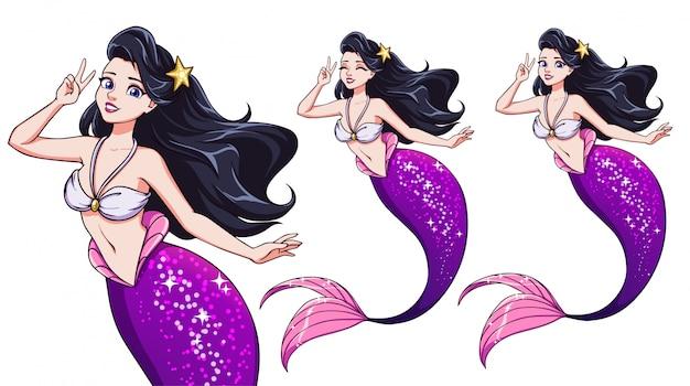 Bella sirena di cartone animato con un segno a v. capelli neri e coda di pesce viola lucido.