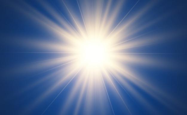 Bella stella luminosa. illustrazione di un effetto di luce su uno sfondo trasparente.