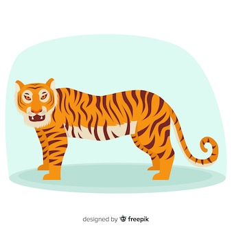 Bella tigre con design piatto