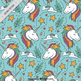 Bella unicorno con elementi disegnati a mano modello