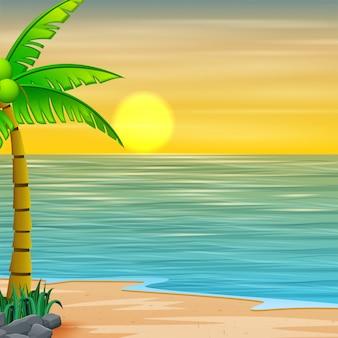 Bella vista sul mare sul mare con montagna e tramonto