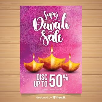 Bella volantino di vendita acquerello diwali