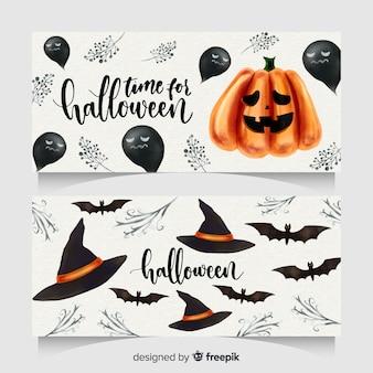 Belle bandiere di halloween dell'acquerello