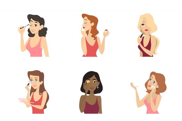 Belle donne che fanno il set di trucco. applicazione di mascara e rossetto, ombretto e base viso. bellezza e cura della pelle. illustrazione in stile cartone animato