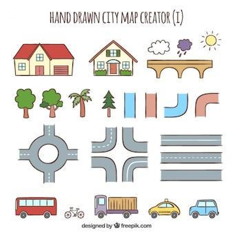 Belle elementi disegnati a mano per creare una città