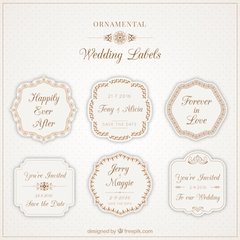 Belle etichette ornamentali per matrimoni