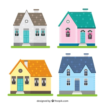 Belle facciate delle case