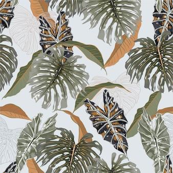 Belle foglie esotiche tropicali d'annata, piante ed illustrazione senza cuciture botanica del modello