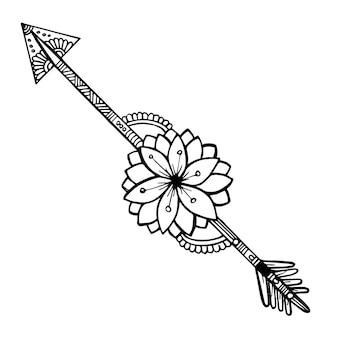 Belle frecce floreali in bianco e nero disegnate a mano