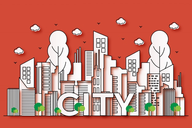 Belle illustrazioni urbane con stile di carta con alberi