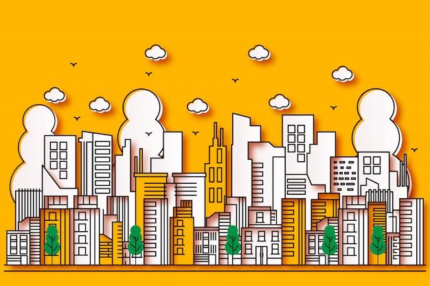 Belle illustrazioni urbane in stile carta con albero