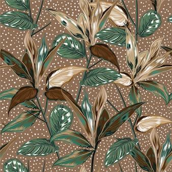 Belle piante botaniche dell'annata e modello senza cuciture della foresta selvaggia
