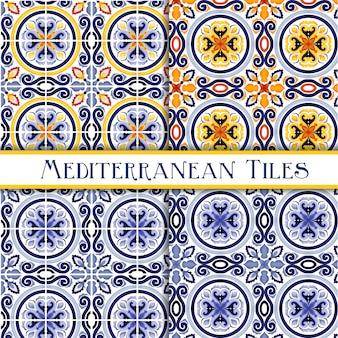 Belle piastrelle tradizionali siciliane dipinte