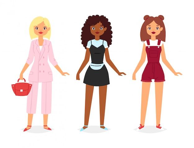 Belle ragazze che indossano abiti di moda