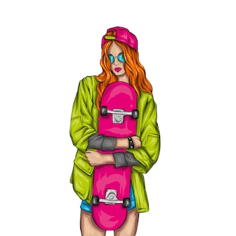 Belle ragazze in top e pantaloncini con lo skateboard. illustrazione.