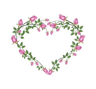 Belle rose rosa fiori a forma di cuore
