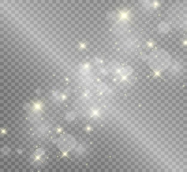 Belle scintille brillano di luce speciale. brilla su uno sfondo trasparente.
