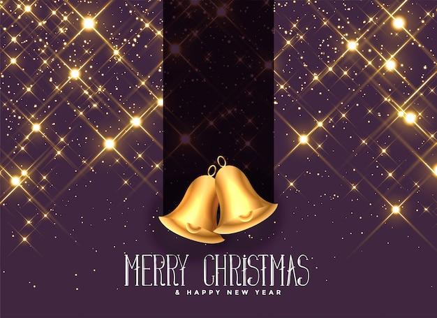 Belle scintille dorate con sfondo di campane di natale