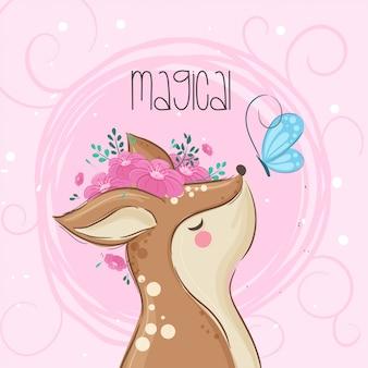 Bellezza cervo con fiore