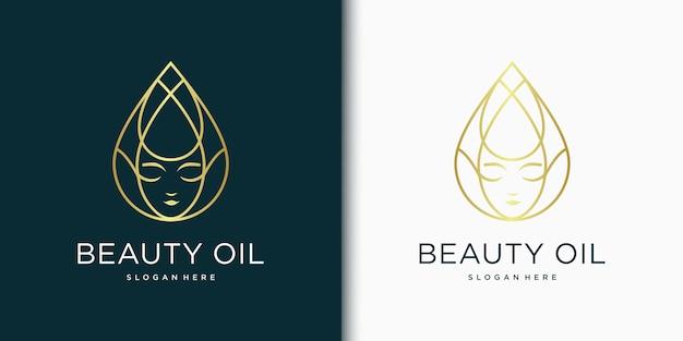 Bellezza donna logo design ispirazione per la cura della pelle, saloni e spa, con il concetto di goccioline di olio / acqua