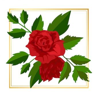 Bellezza red rose floral flower vintage leaf nature