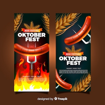 Belli banner oktoberfest con un design realistico