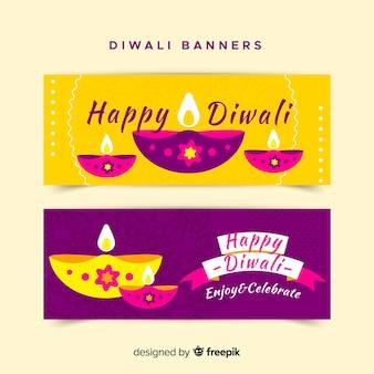 Belli striscioni di diwali con design piatto