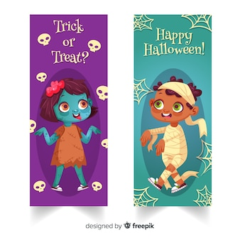 Belli striscioni di halloween con design piatto