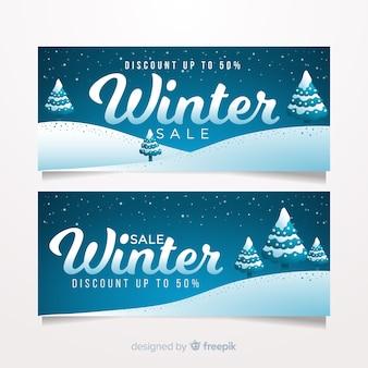 Belli striscioni invernali con design piatto