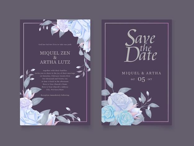 Bellissima copertina dell'invito di nozze in colore blu