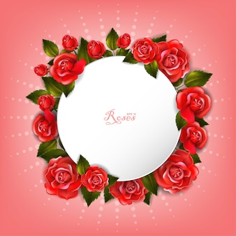 Bellissima cornice romantica arrotondata bianca con rose rosse e foglie.