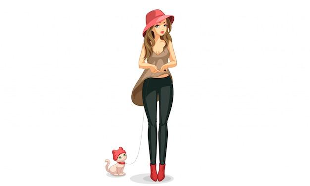 Bellissima modella con il suo animaletto