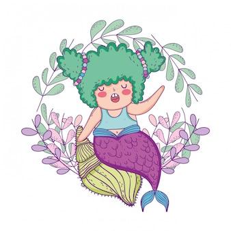 Bellissima sirena con corona di foglie