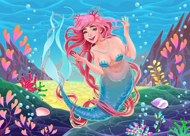 Bellissima sirena sott'acqua con capelli rosa e corallo