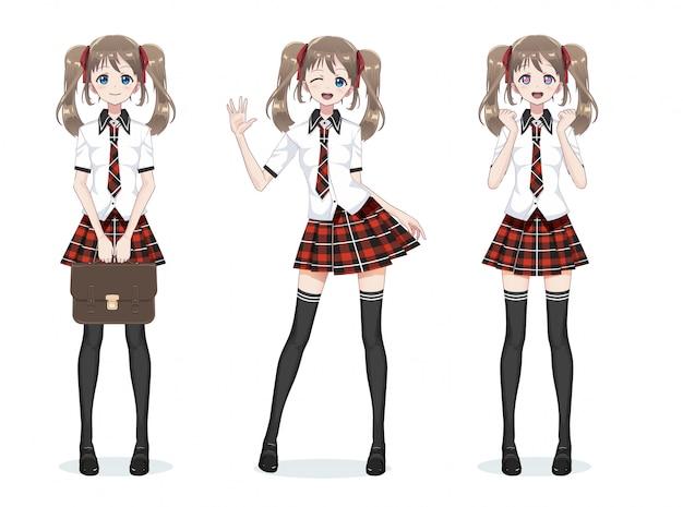 Bellissima studentessa manga anime in gonna