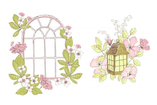 Bellissime composizioni vettoriali, fiori selvatici, finestra, lampada, vecchia g