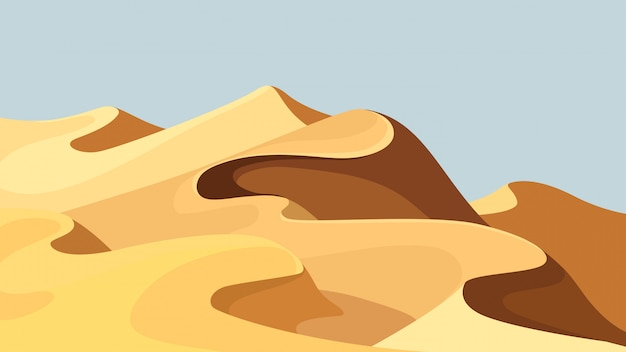 Bellissime dune di sabbia. paesaggio desertico in stile cartone animato.