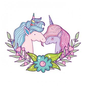 Bellissime teste di coppia di unicorni