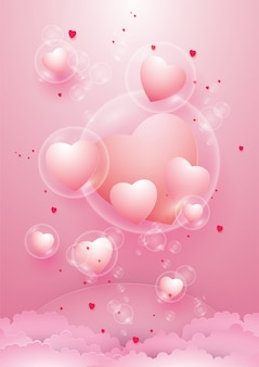 Bellissimi cuori in bolla e san valentino.