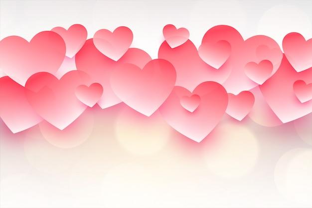 Bellissimi cuori rosa per felice giorno di san valentino
