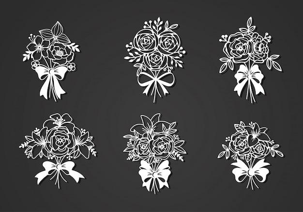 Bellissimi elementi di file di taglio floreale
