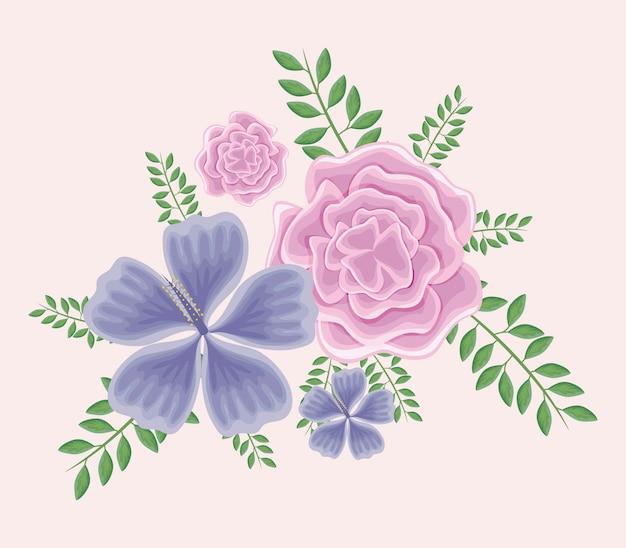 Bellissimi fiori con rami e foglie