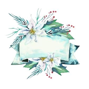 Bellissimi fiori invernali con banner vuoto