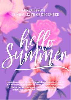 Bellissimi fiori tropicali con scritte su sfocatura dello sfondo. illustrazione del concetto di estate