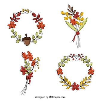 Bellissimi mazzi di fiori e corone di fiori autunnali schizzi