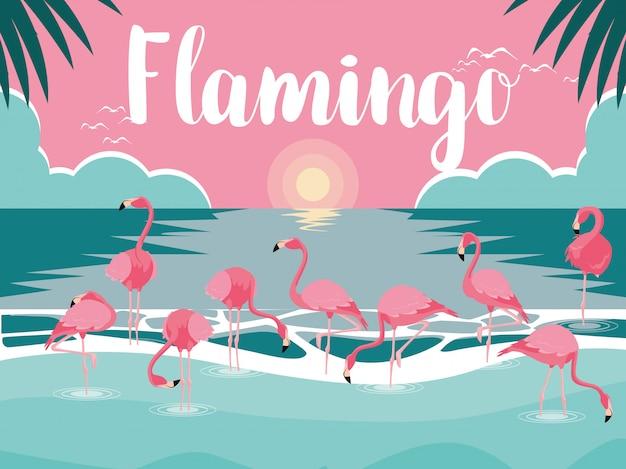 Bellissimi uccelli fenicotteri si affollano nel paesaggio