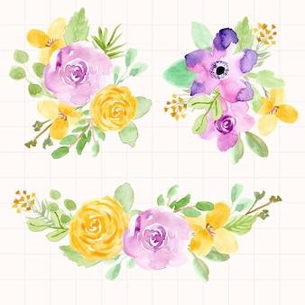 Bellissimo acquerello di disposizione floreale viola giallo